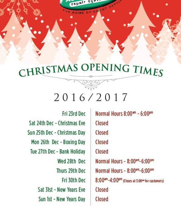Opening Hours over Christmas and New Year