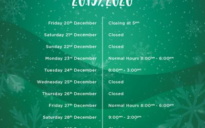 Holiday Season Opening Times